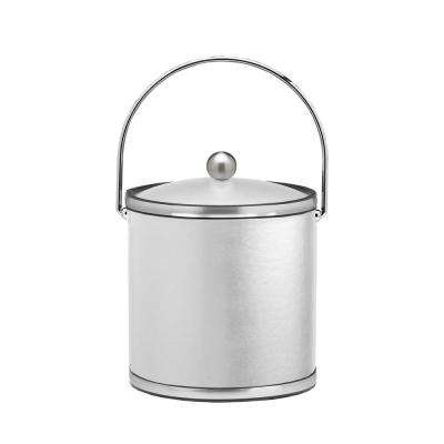 Sophisticates 3 Qt. White and Brushed Chrome Ice Bucket with Bale Handle and Acrylic Cover