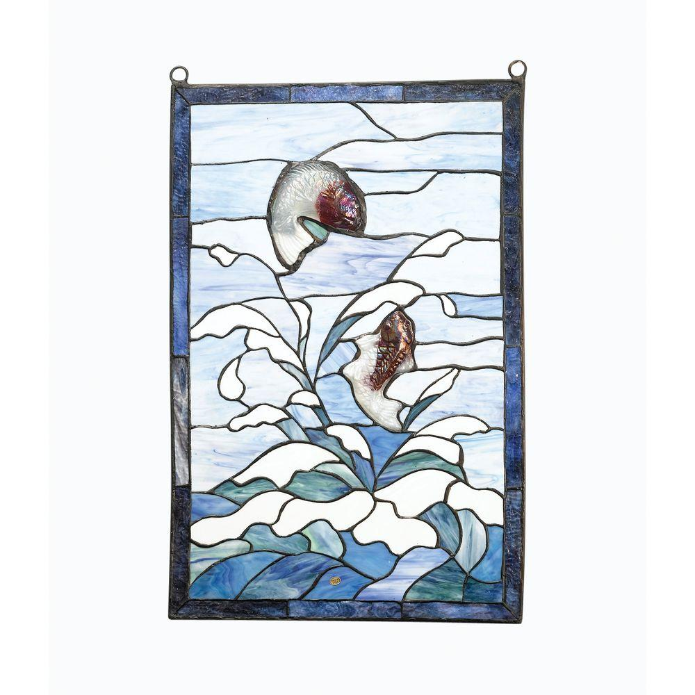 Antique Reproductions 24 in. x 16 in. Rectangle Fish Blue Art Glass Window