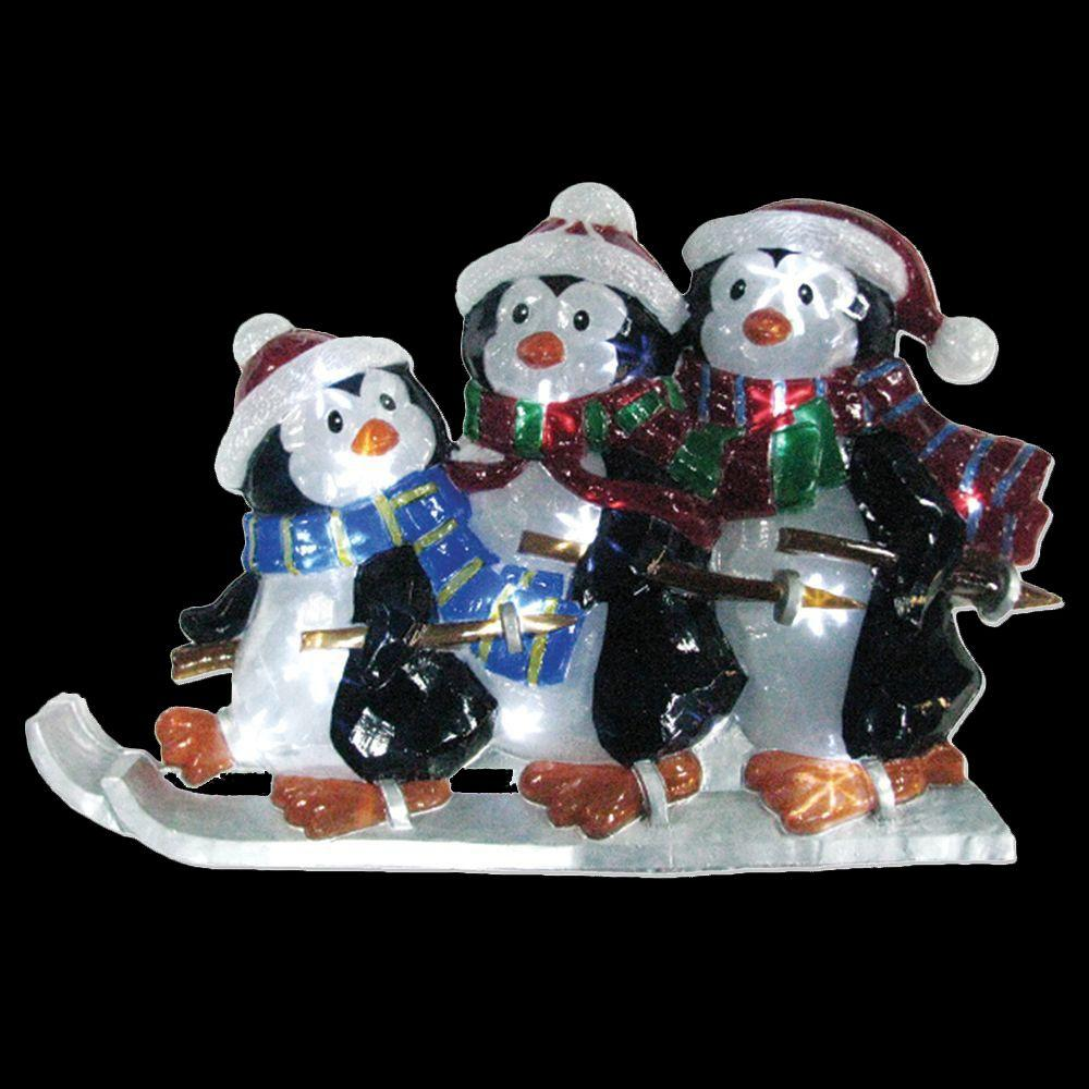 Brite Star 21 in. Battery Operated Icy Pure White Twinkling LED Penguin Family Lawn Silhouette