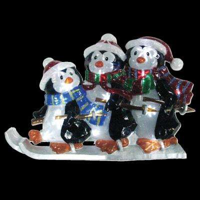 21 in. Battery Operated Icy Pure White Twinkling LED Penguin Family Lawn Silhouette