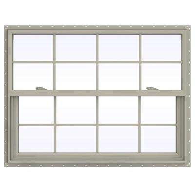 47.5 in. x 35.5 in. V-2500 Series Single Hung Vinyl Window with Grids - Tan