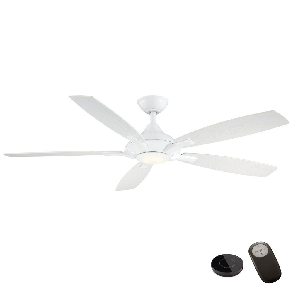 Home Decorators Collection Petersford 56 in. Integrated LED White Ceiling Fan with Light Kit and Remote Control works with Google and Alexa