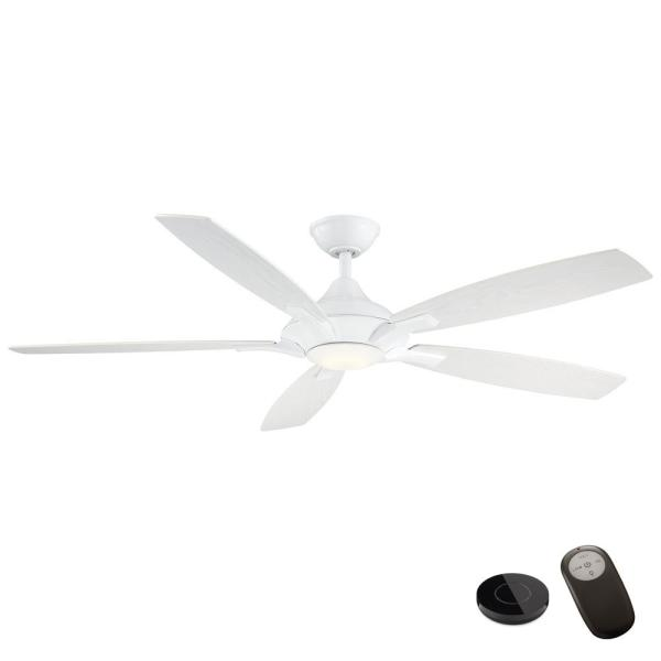 Petersford 56 in. Integrated LED White Ceiling Fan with Light Kit and Remote Control works with Google and Alexa