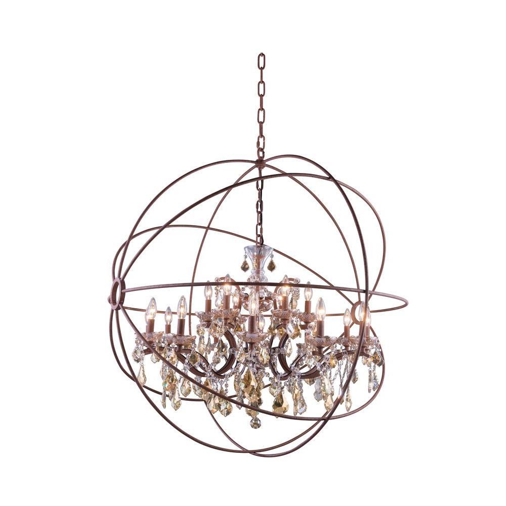 Geneva 18-Light Rustic Intent Chandelier with Golden Teak Smoky Crystal