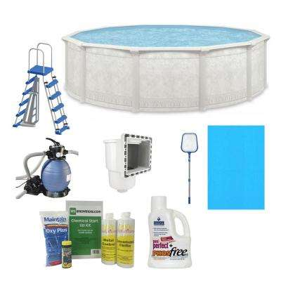 Cornelius Khaki Venetian 4.3 ft. x 52 in. Round 15 ft. Complete Deep Hard Side Above Ground Swimming Pool Package