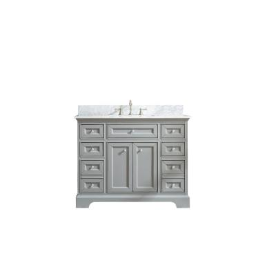South Bay 43 in. Single Bath Vanity in Gray with Marble Vanity Top in Carrara White with White Basin