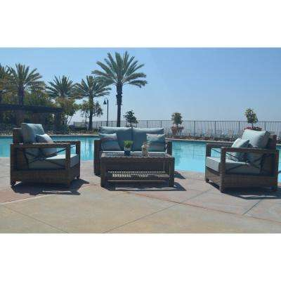 Lawrence 4-Piece Wicker Patio Conversation Set with Sunbrella Cast Mist Cushions