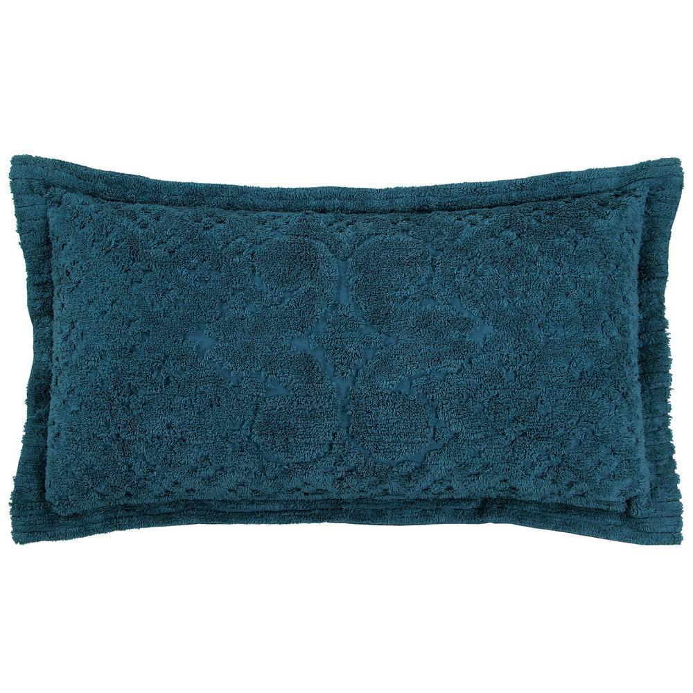 Ashton Collection in Medallion Design Teal King 100% Cotton Tufted Chenille Sham