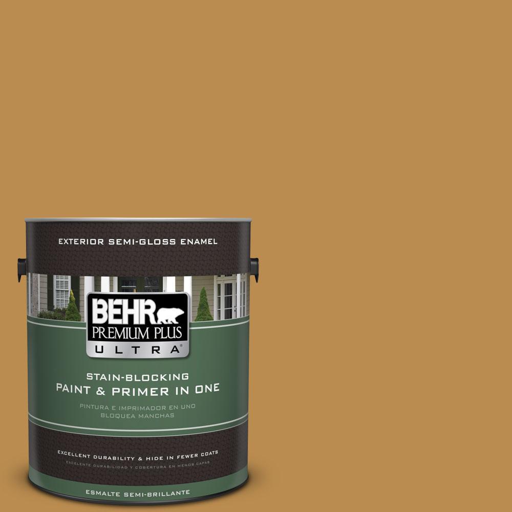 BEHR Premium Plus Ultra 1-gal. #320D-6 Lion Mane Semi-Gloss Enamel Exterior Paint