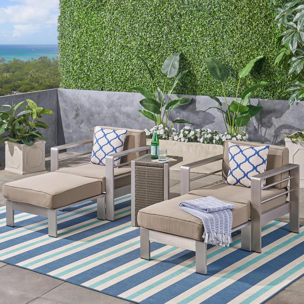Cape Coral Silver 4-Piece Aluminum Patio Conversation Set with Khaki Cushions