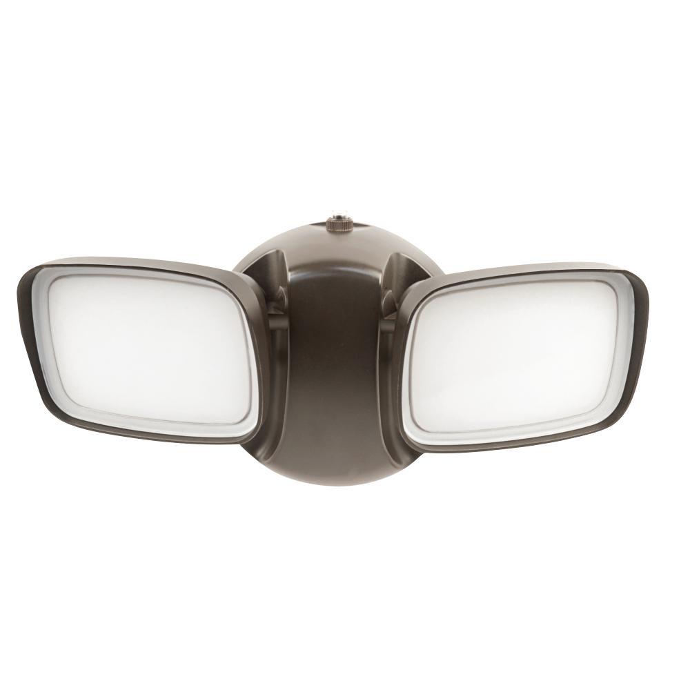 25-Watt Bronze Outdoor Integrated LED Dual Head Flood Light with Dusk to Dawn Photocell Sensor