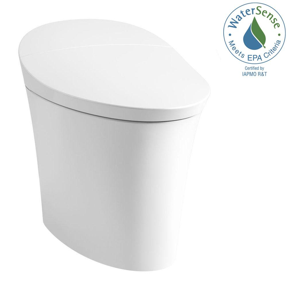 Veil Intelligent Comfort Height 1-Piece Elongated Dual-Flush Toilet in White,