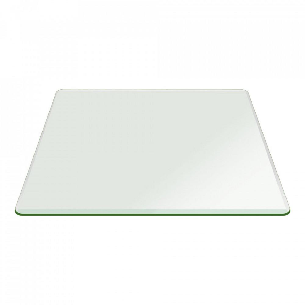 54 in. Square Glass 1/2 in. Clear Thick Bevel Polish Temp...
