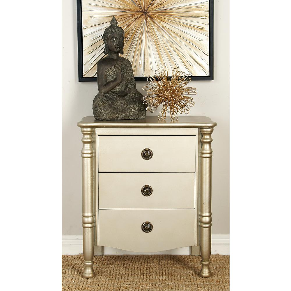 Litton Lane New Traditional Antique Ivory 3 Drawer Wooden Side Chest