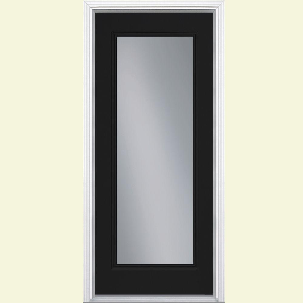 Masonite 36 in. x 80 in. Full Lite Jet Black Left Hand Inswing Painted Smooth Fiberglass Prehung Front Exterior Door w/ Brickmold