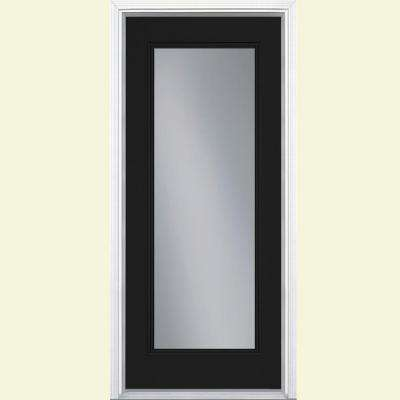 36 in. x 80 in. Full Lite Jet Black Left Hand Inswing Painted Smooth Fiberglass Prehung Front Door w/ Brickmold