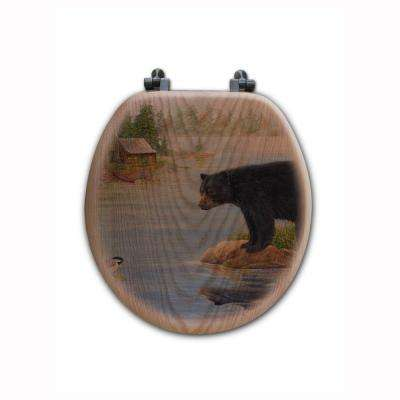 Misty Morning Encounter Round Closed Front Wood Toilet Seat in Oak Brown