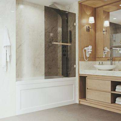 Rialto 34 in. x 58 in. Bathtub Door with .3125 in. Sheer Black Glass and Stainless Steel Hardware
