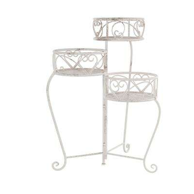 3-Tier Antique White Metal Decorative Folding Plant Stand Display with Laser Cut Shelves