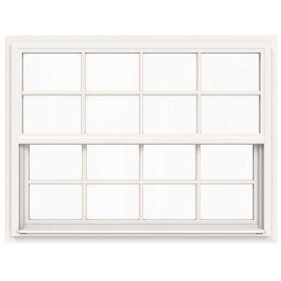 42 in. x 36 in. V-4500 Series White Single-Hung Vinyl Window with 8-Lite Colonial Grids/Grilles