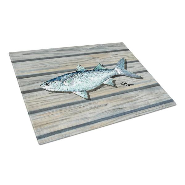 Caroline's Treasures Fish Mullet Tempered Glass Large Cutting Board 8490LCB