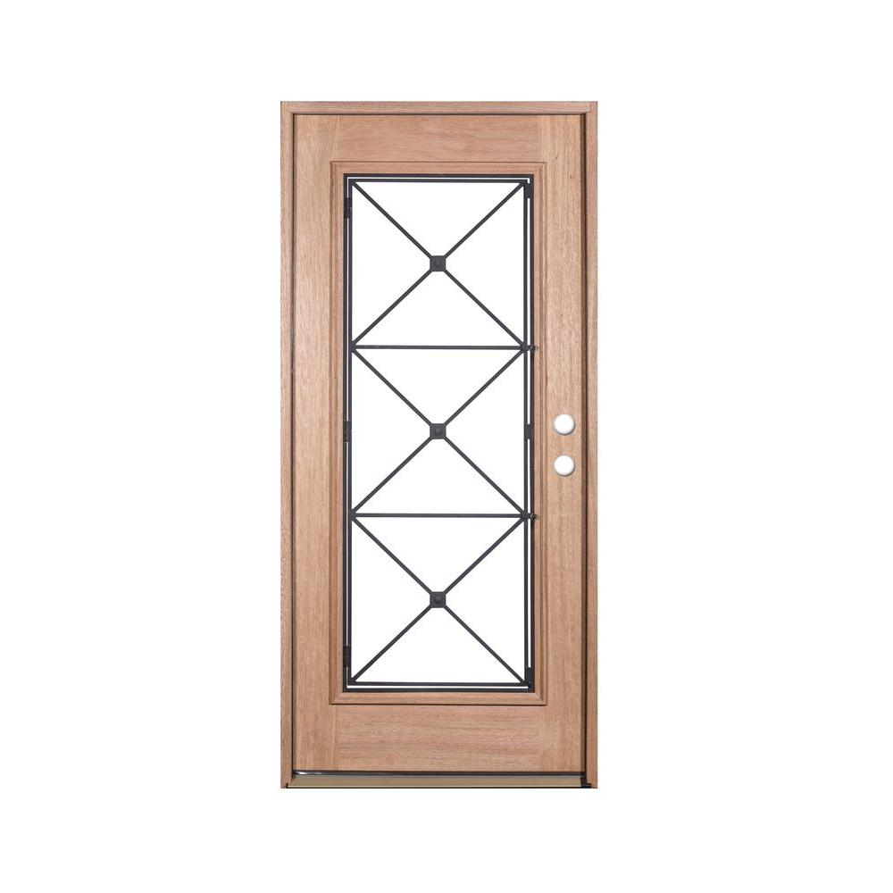 Exclusive Wood Doors 36 in  x 80 Operable Decorative Wrought Iron Unfinished Mahogany