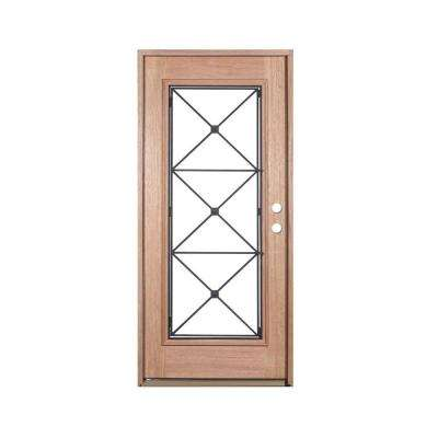 36 in. x 80 in. Operable Decorative Wrought Iron Unfinished Mahogany Left-Hand Solid Wood Prehung Front Door