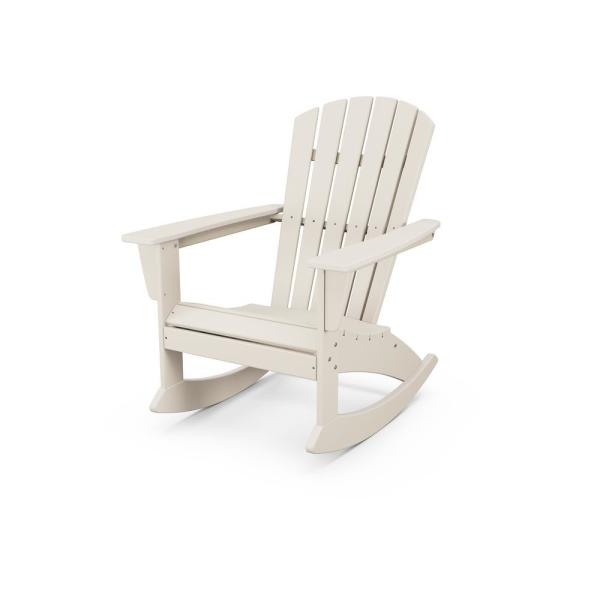 Polywood Grant Park Plastic Patio Outdoor Adirondack Rocking Chair Adr440sa The Home Depot