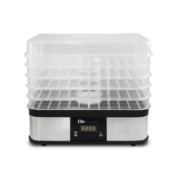 Elite 5-Tray Stainless Steel Food Dehydrator with Removable Lid EFD-1159D