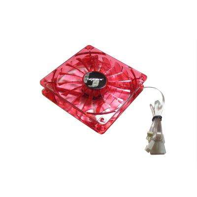 140 mm Red 2-Ball Bearing PWM Red LED 12-Volt DC Fan in Red