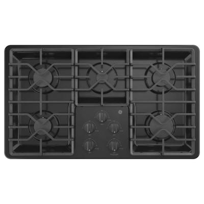 36 in. Built-In Gas Cooktop in Black with 5-Burners including Power Boil Burners