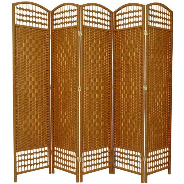 5.5 ft. Light Beige 5-Panel Room Divider