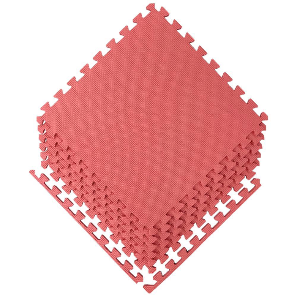 Ottomanson Multi-Purpose Red 24 in. x 24 in. EVA Foam Interlocking Anti-Fatigue Exercise Tile Mat (6-Pack)