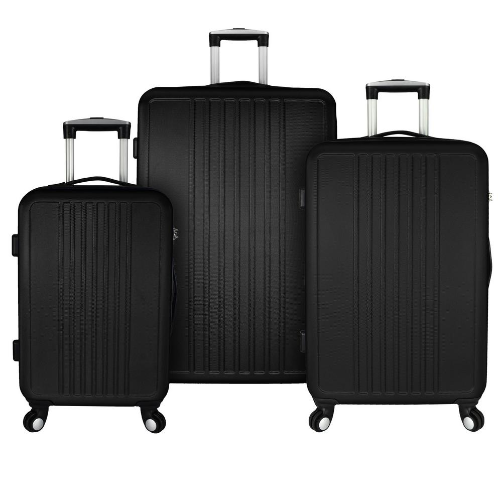 Versatile 3-Piece Hardside Spinner Luggage Set, Black
