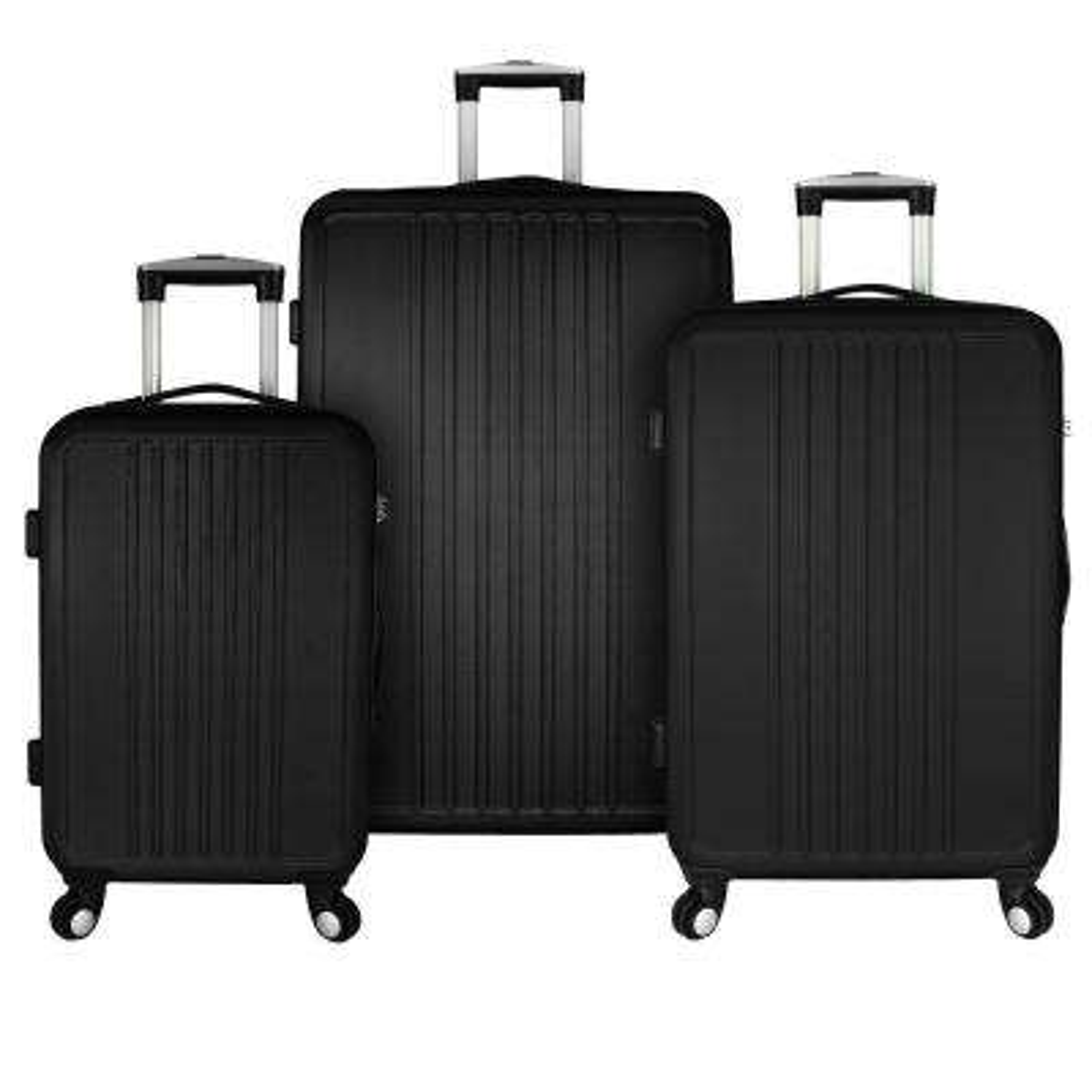 Versatile 3-Piece Hardside Spinner Luggage Set, Black