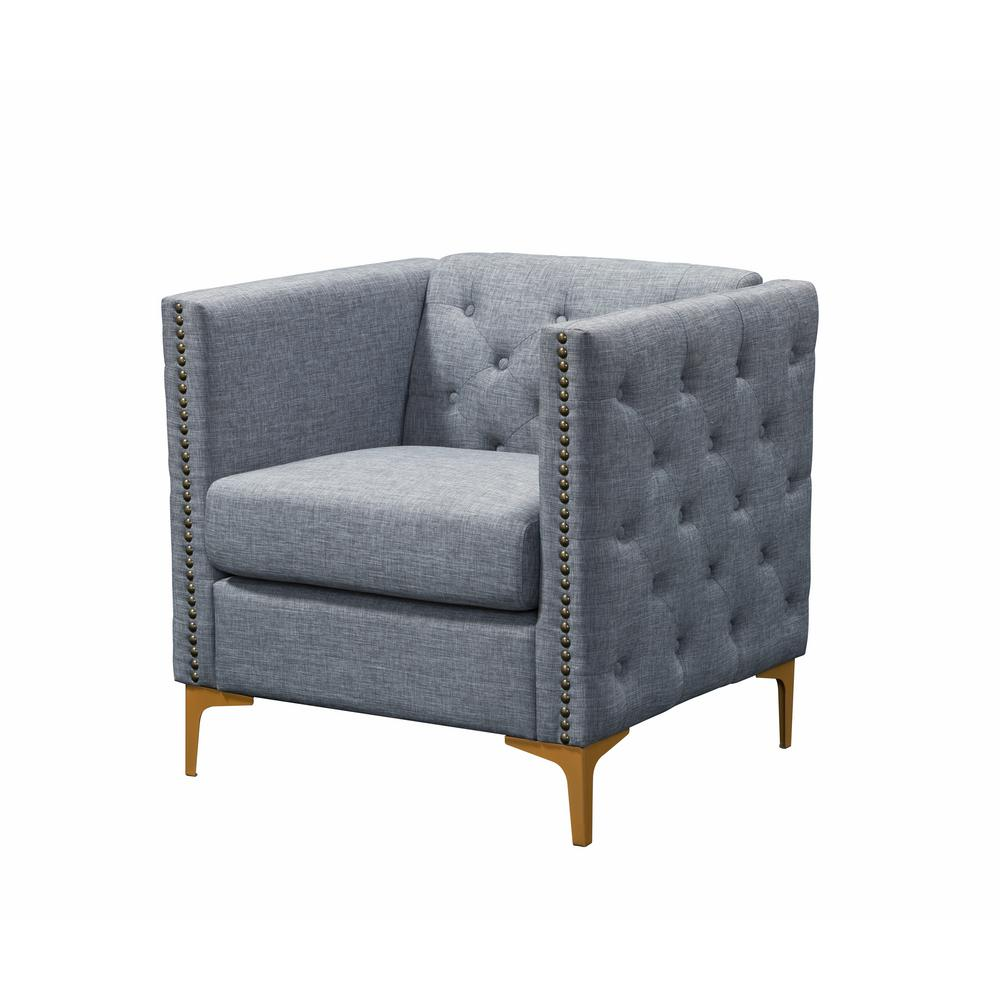 Adner light gray linen tufted accent chair