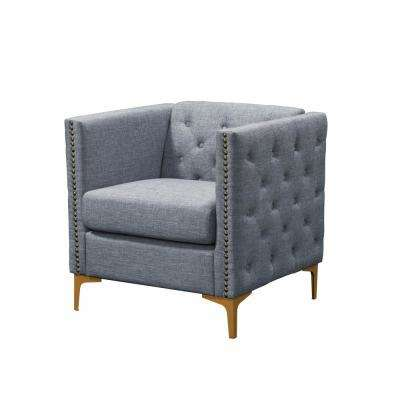 Adner Light Gray Linen Tufted Accent Chair