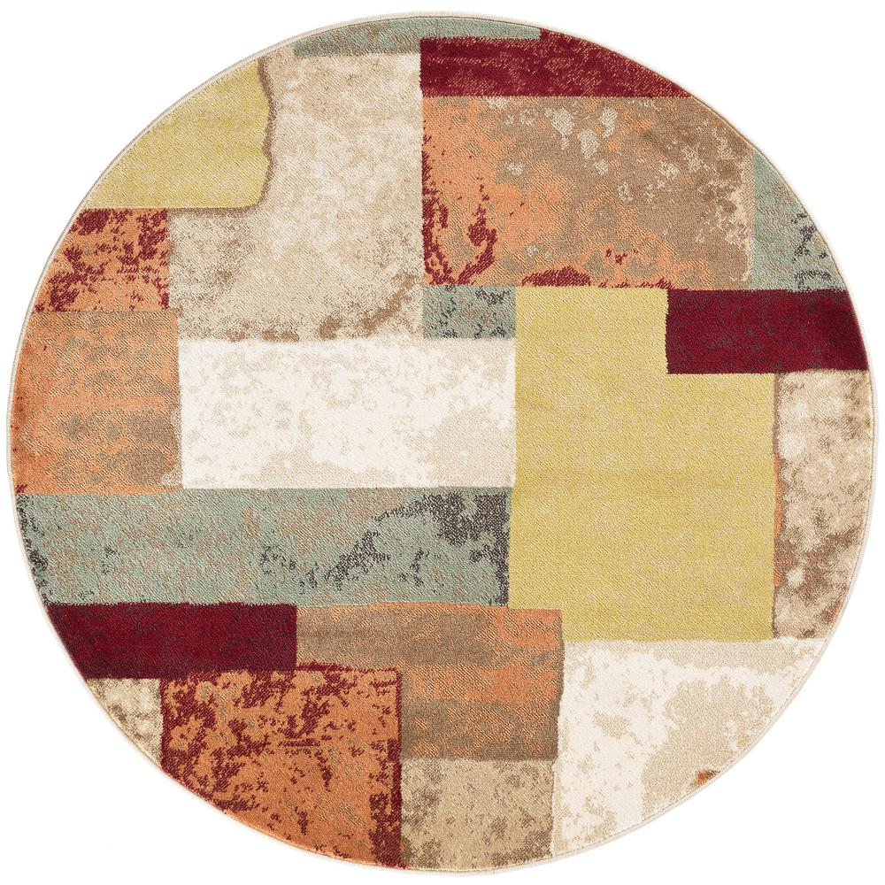 Tayse rugs deco multi 5 ft 3 in contemporary round area for Area rugs round contemporary