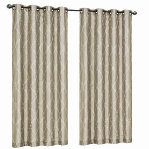Home Decorators Collection Beige Hourglass Embroidered Lined Curtain 50 In W X 95 In L