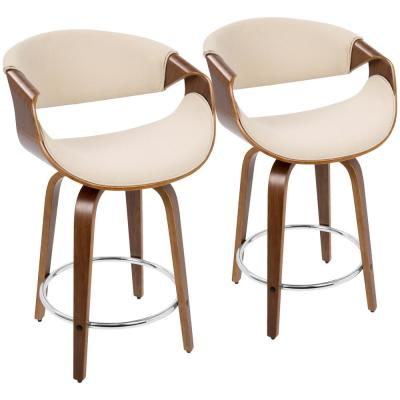 Curvini 24 in. Walnut and Cream Fabric Counter Stool (Set of 2)