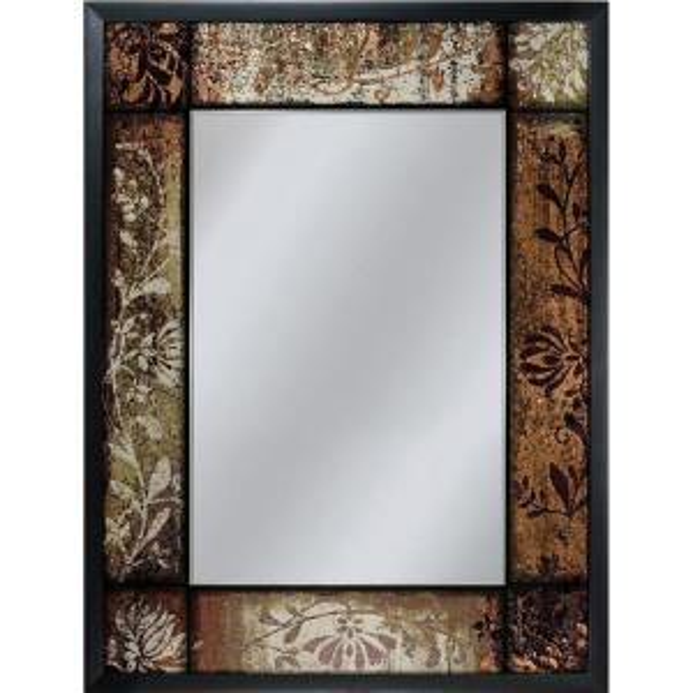 Deco Mirror 25 inch x 33 inch Bronze Patchwork Mirror in Black by Deco Mirror