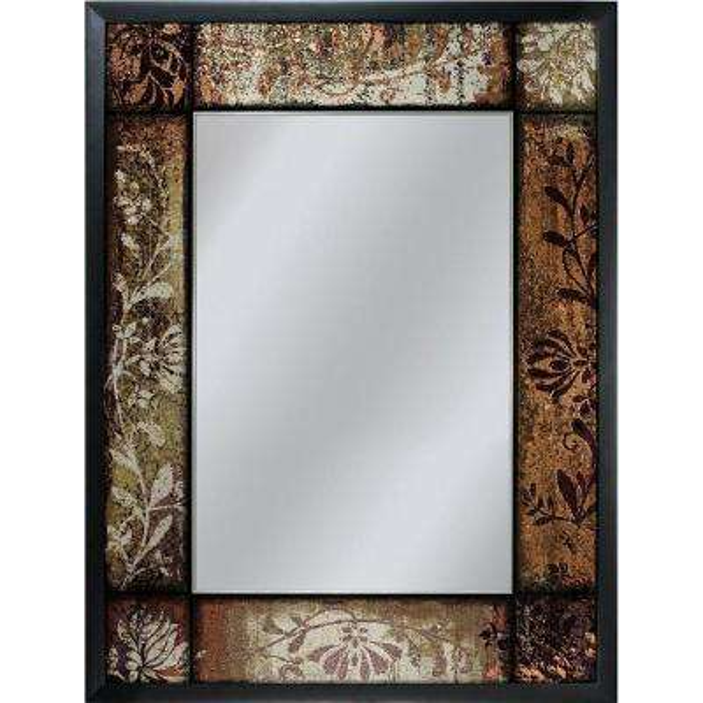 25 in. x 33 in. Bronze Patchwork Mirror in Black