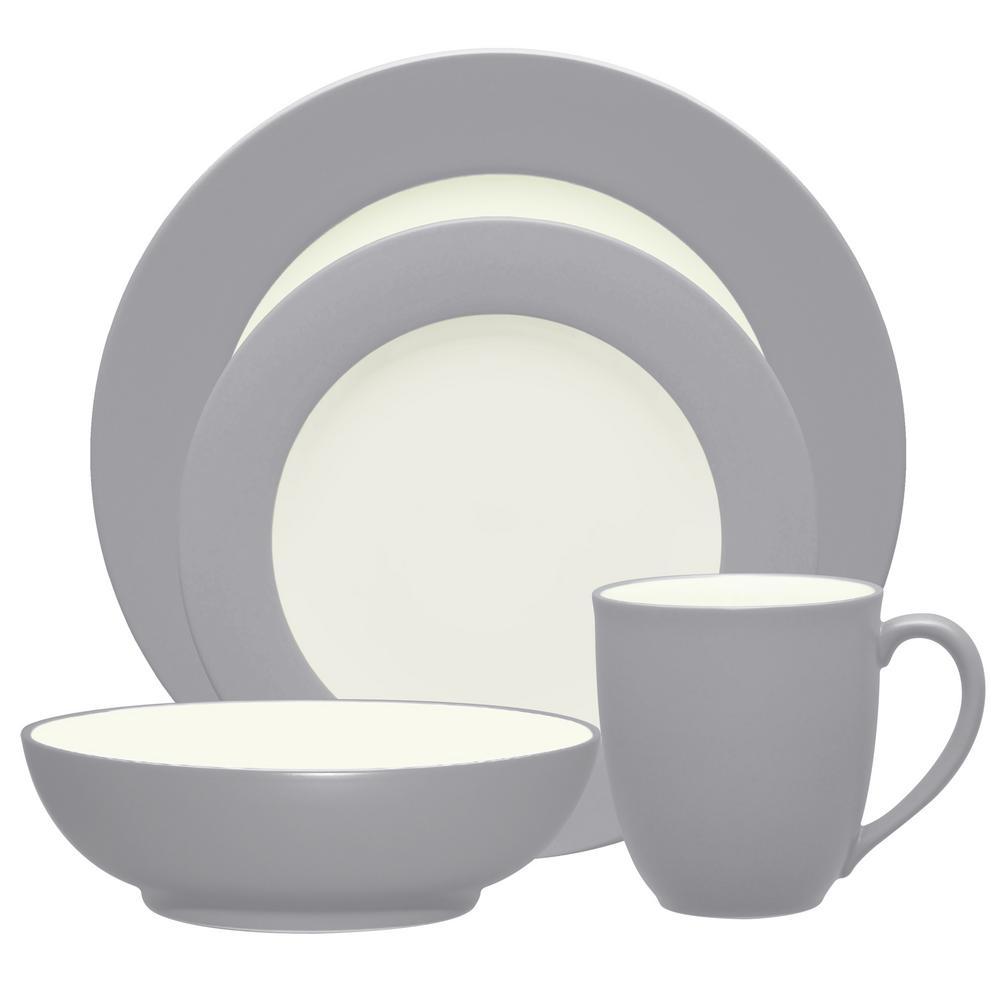 Colorwave 4-Piece Slate Rim Dinnerware Set