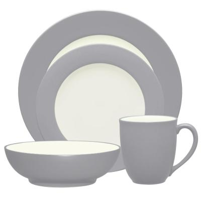 Colorwave Rim 4-Piece Casual Slate Stoneware Dinnerware Set (Service for 1)