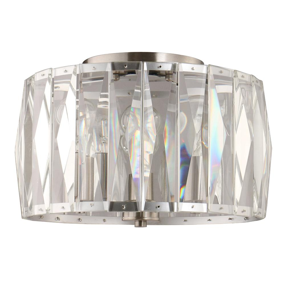 Home Decorators Collection 3-Light Chrome Flush Mount with Clear Glass Shade