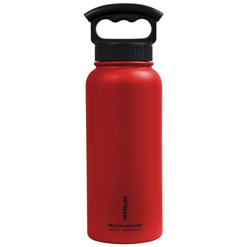 34 oz. Vacuum-Insulated Bottle with Wide-Mouth 3-Finger Handle Lid in Cherry