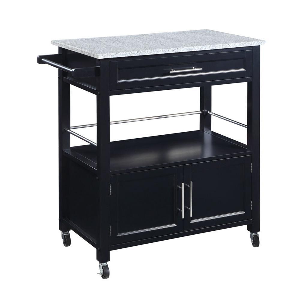 Linon Home Decor Cameron Black Kitchen Cart With Storage