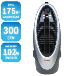 Click here to buy Honeywell 300 CFM 4-Speed Indoor Portable Evaporative Cooler for 175 sq. ft. by Honeywell.