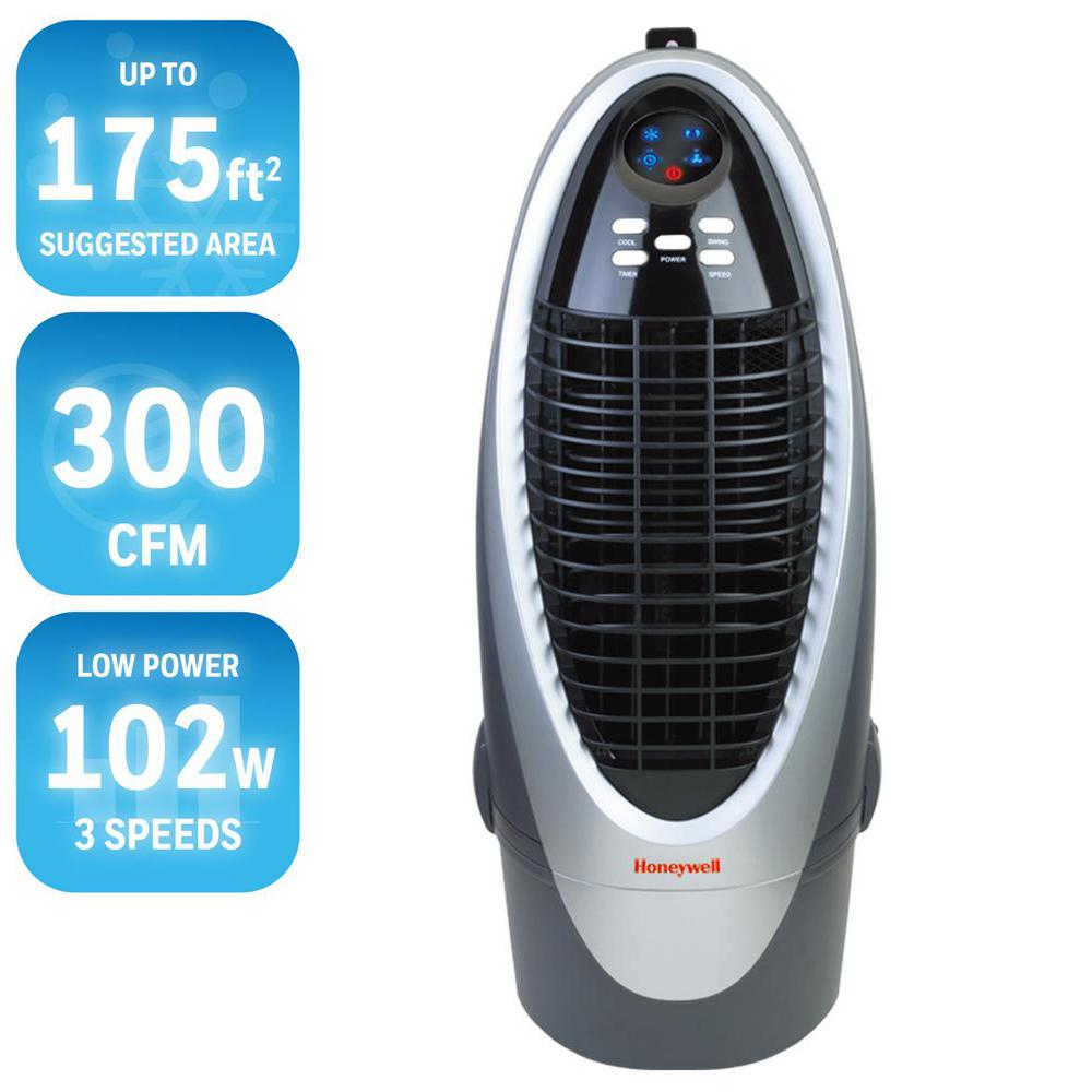 300 CFM 4-Speed Indoor Portable Evaporative Air Cooler (Swamp Cooler) with
