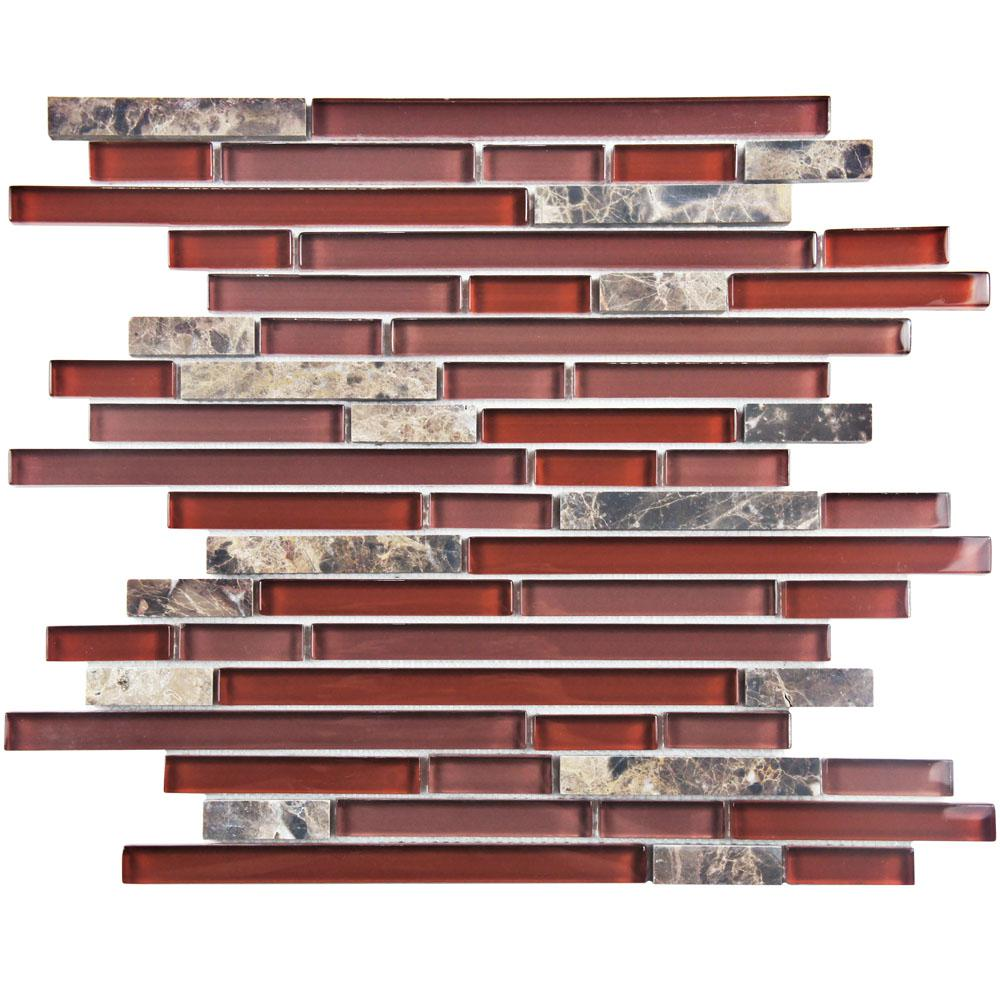 Merola Tile Tessera Piano Bordeaux 11-3/4 in. x 11-7/8 in. x 8 mm Glass and Stone Mosaic Tile